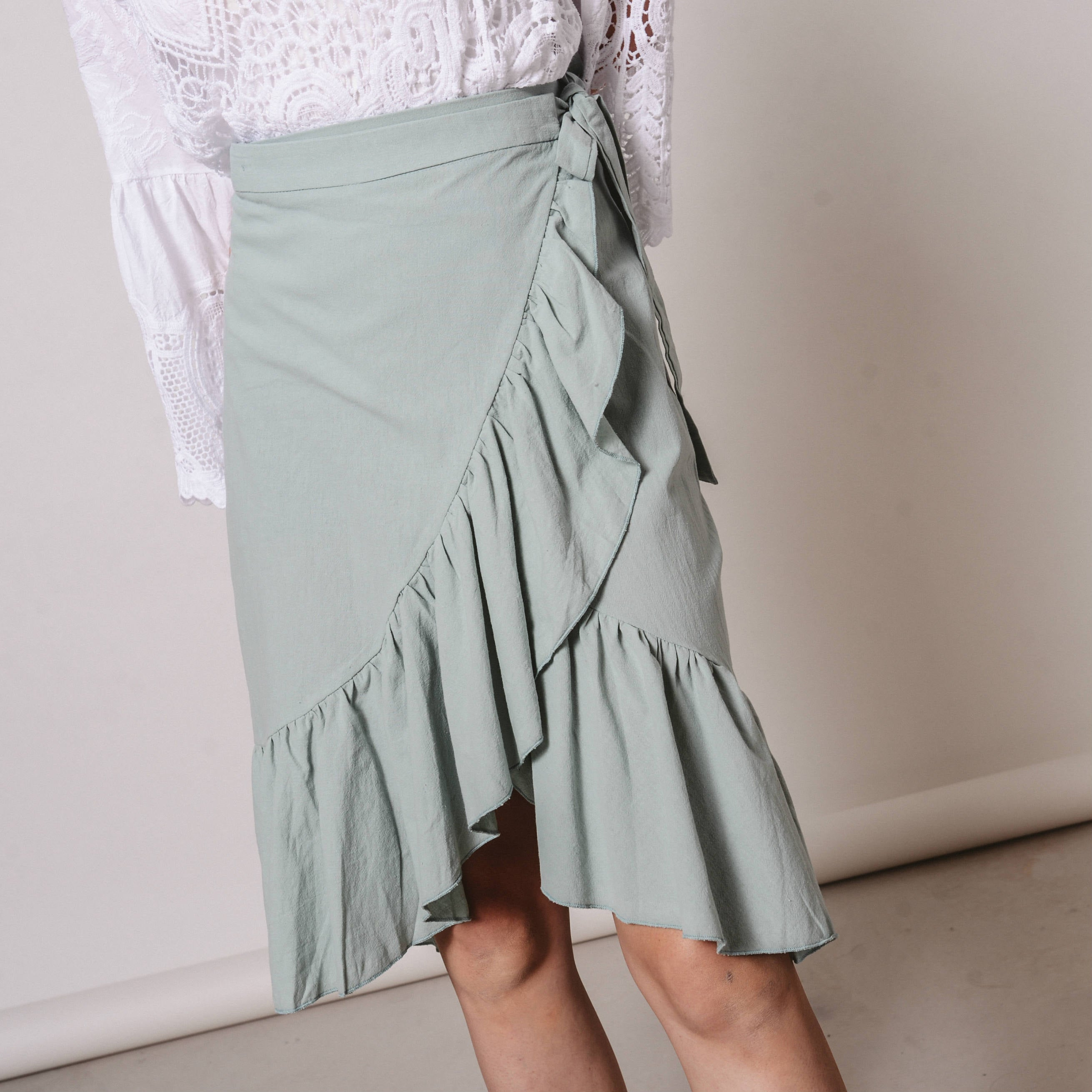 Chloe Wrap Skirt - Pastel Green