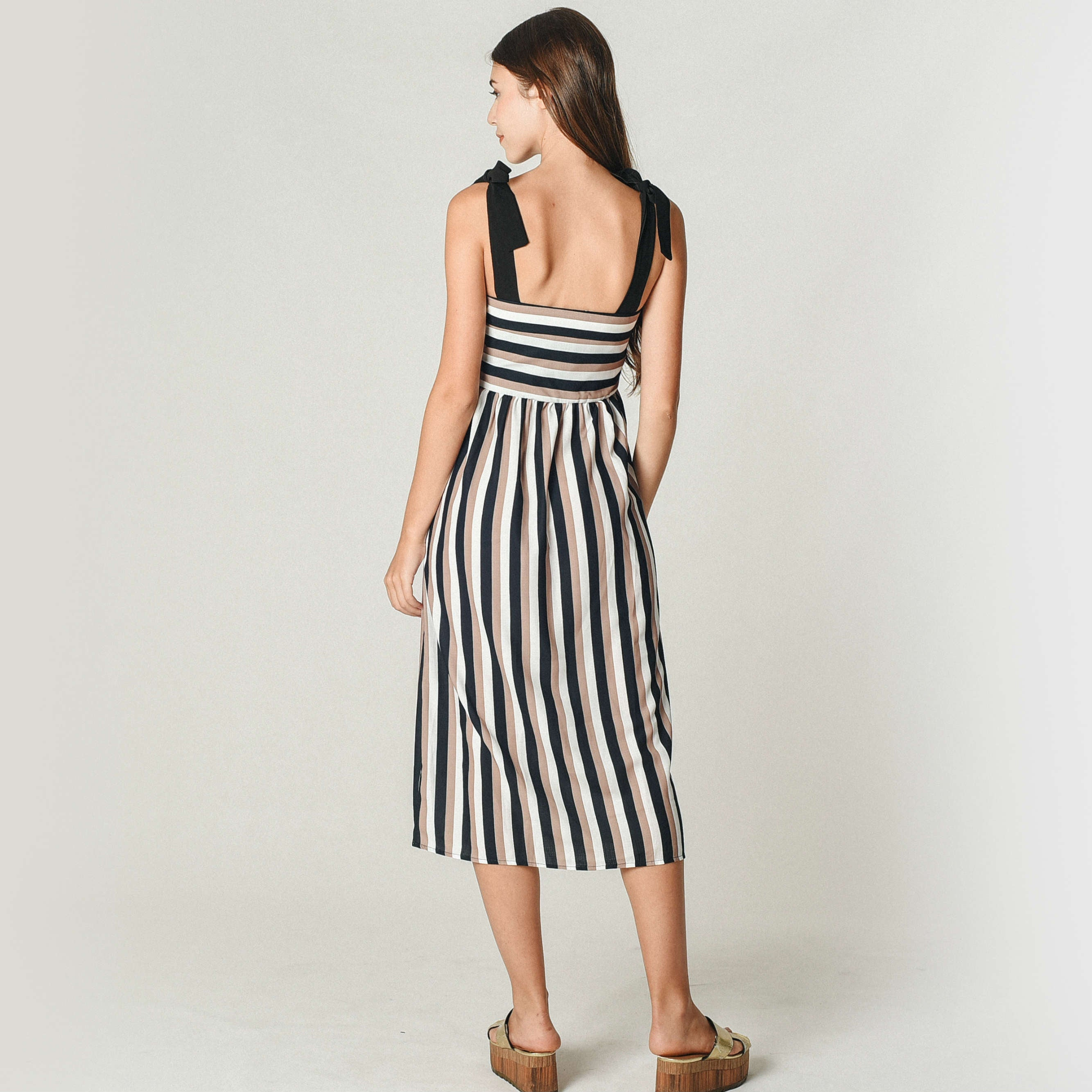 Feryn Striped Ribbon Dress