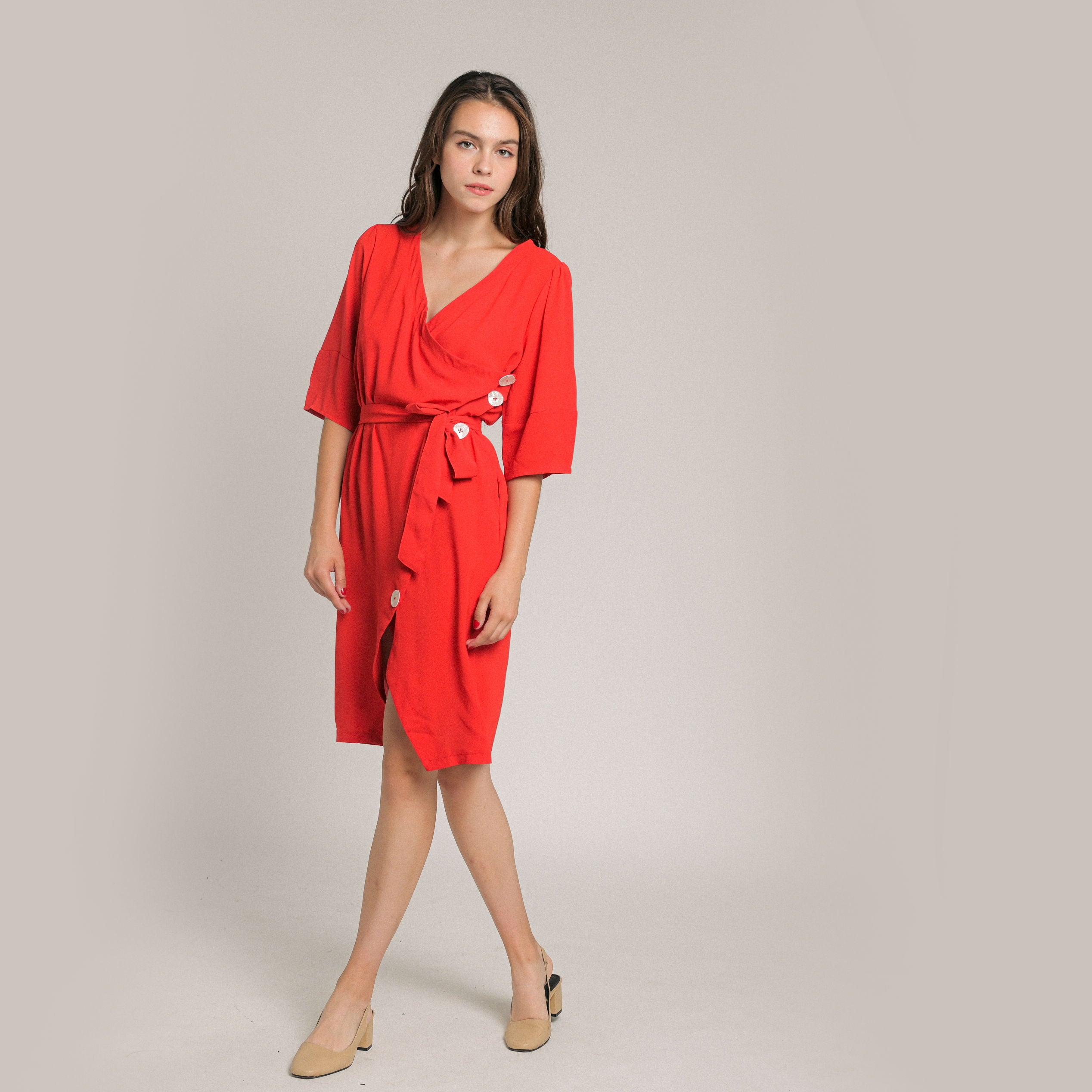 Lune Buttoned Dress - Red