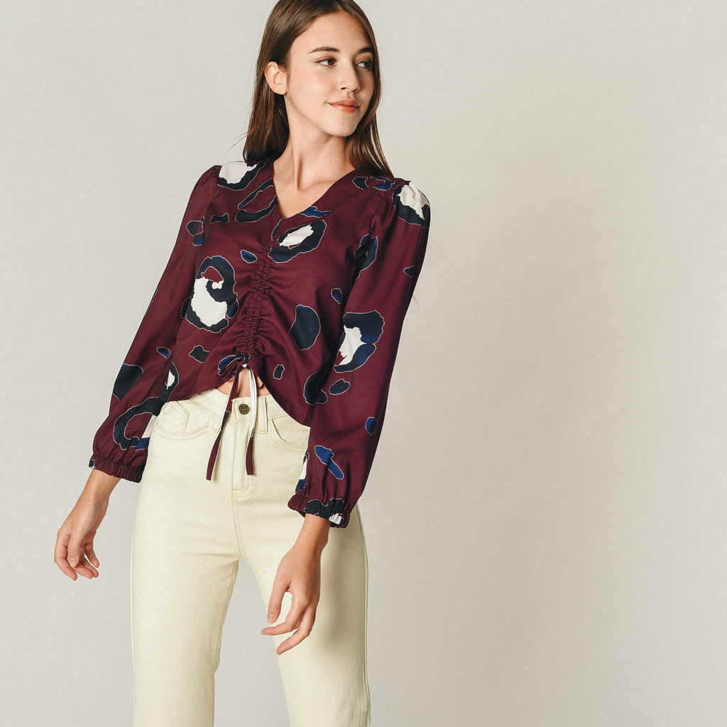Sarah Printed Top - Maroon
