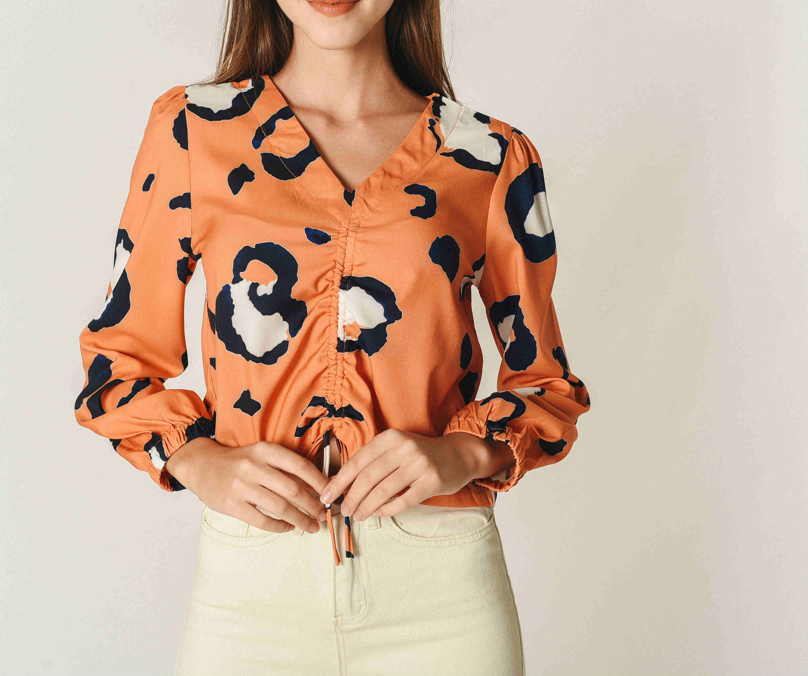 Sarah Printed Top - Orange