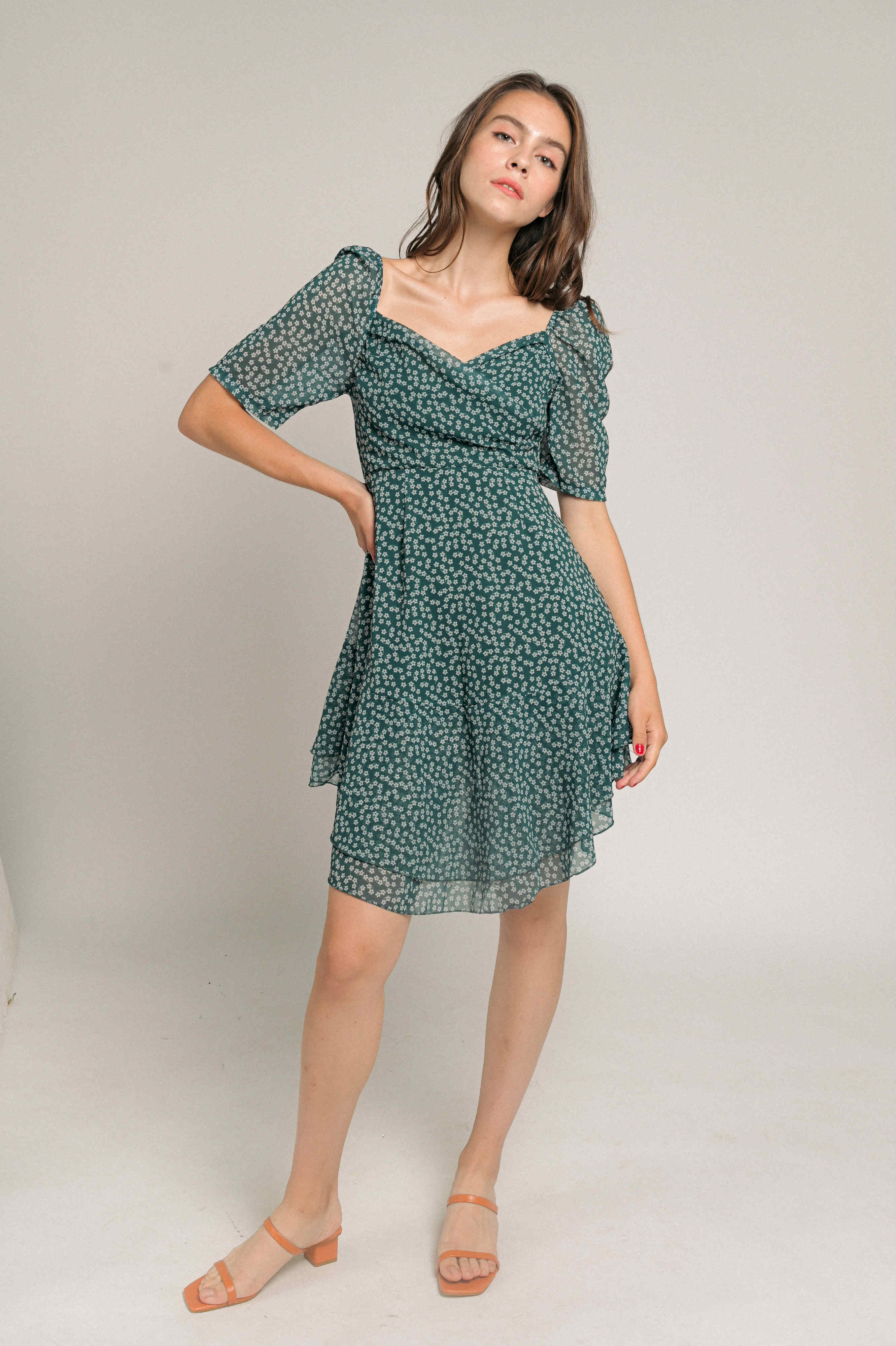 Justina Ruffle Print Dress