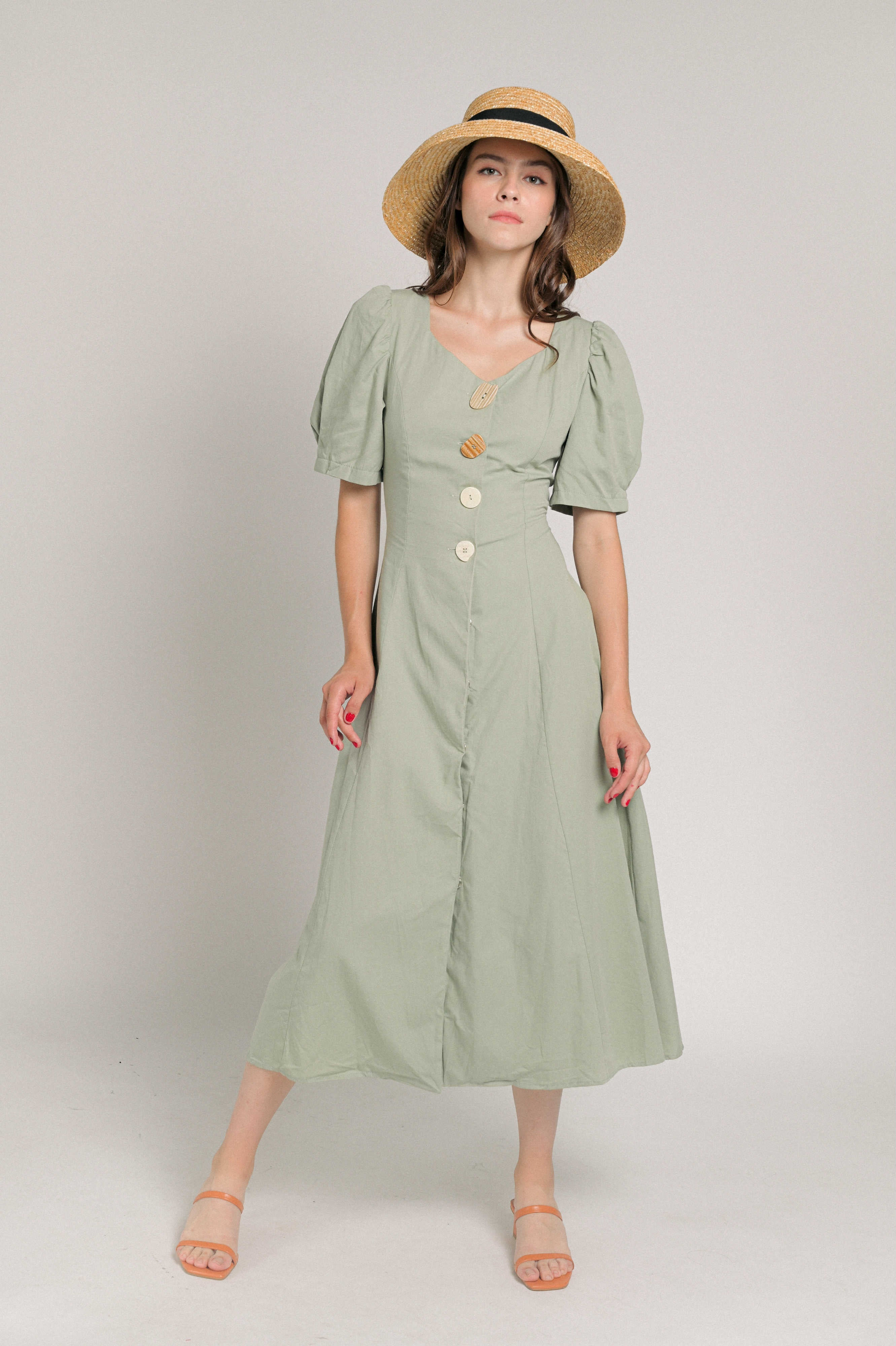 Juliette Buttoned Midi Dress - Dusty Green