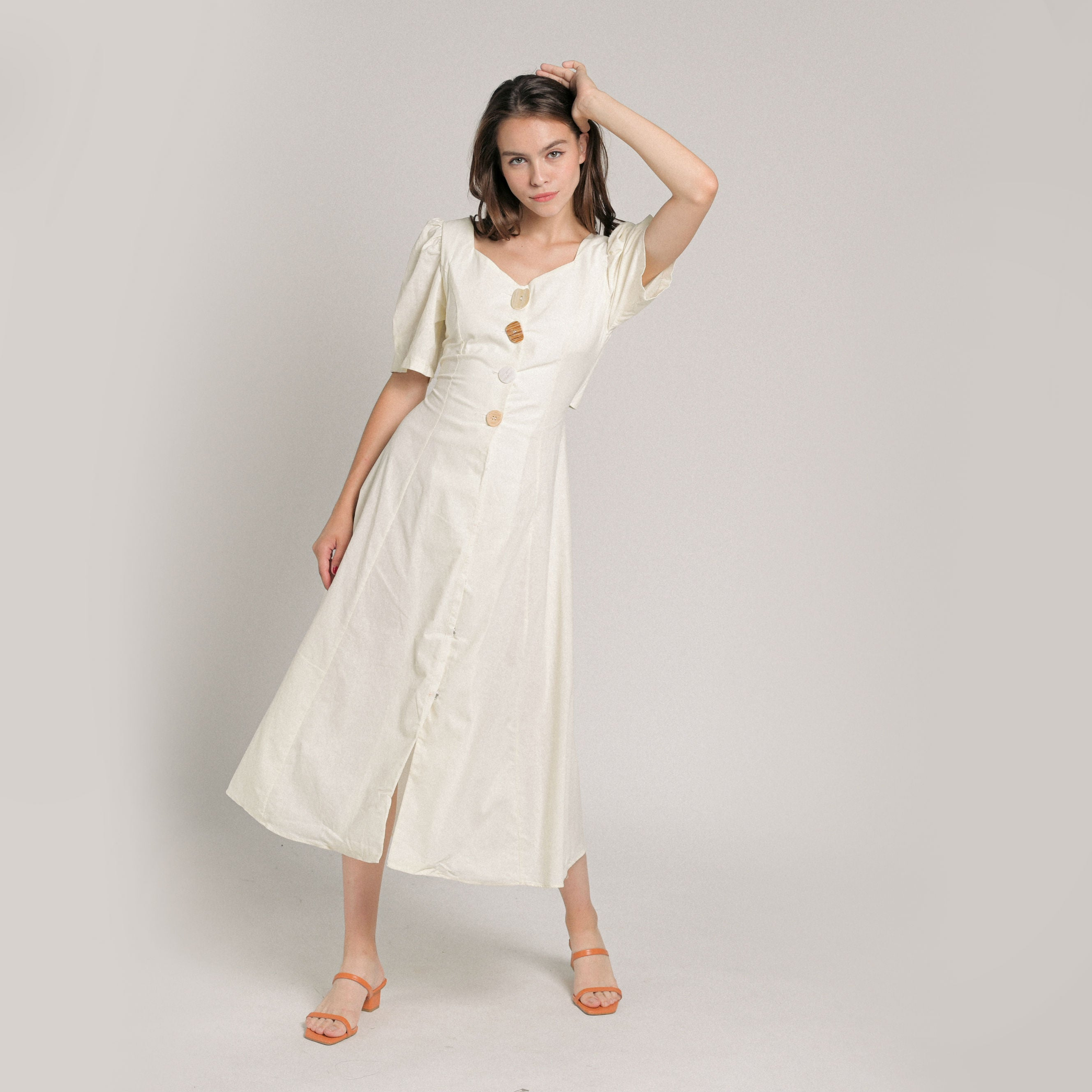Juliette Buttoned Midi Dress - Off-White