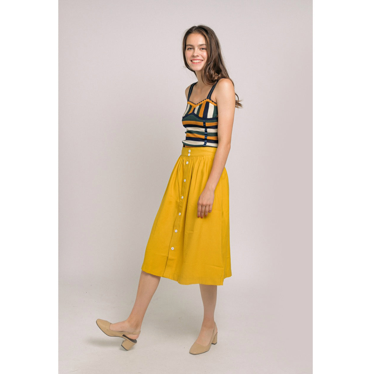 Dianne Knit Top Buttoned Skirt Set