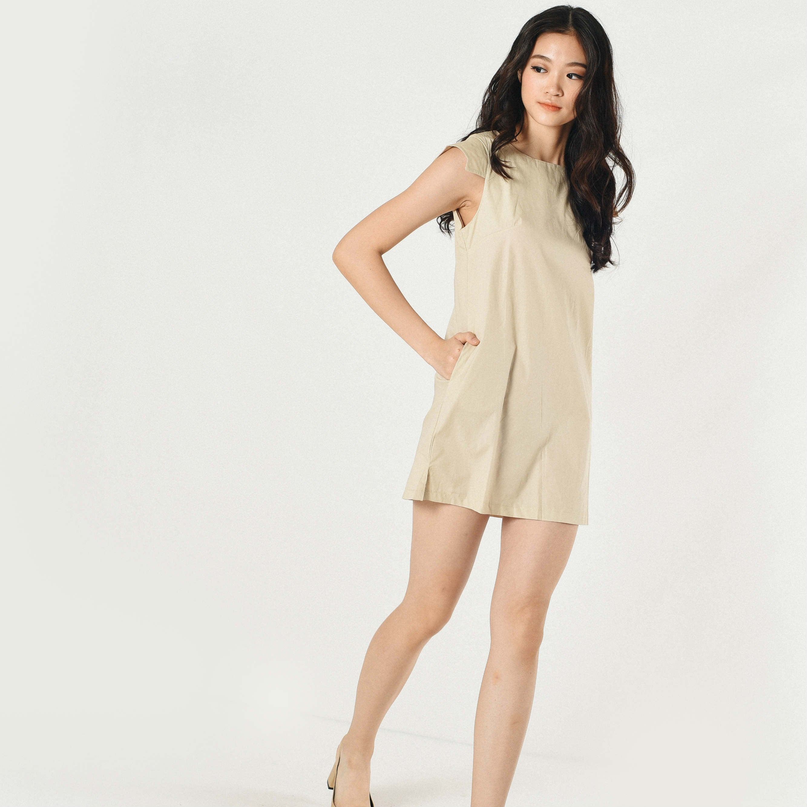 Pansy Structured Dress - Beige