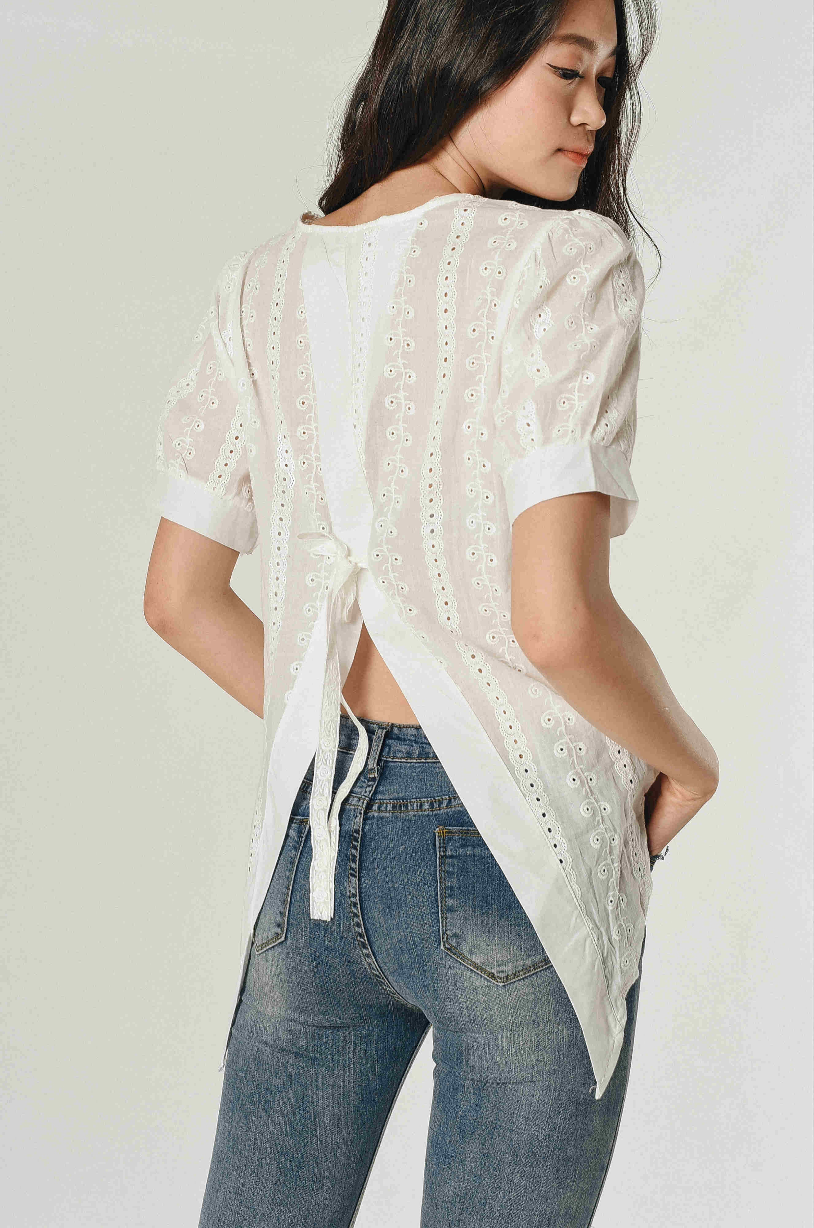 Lace Back Tie Top