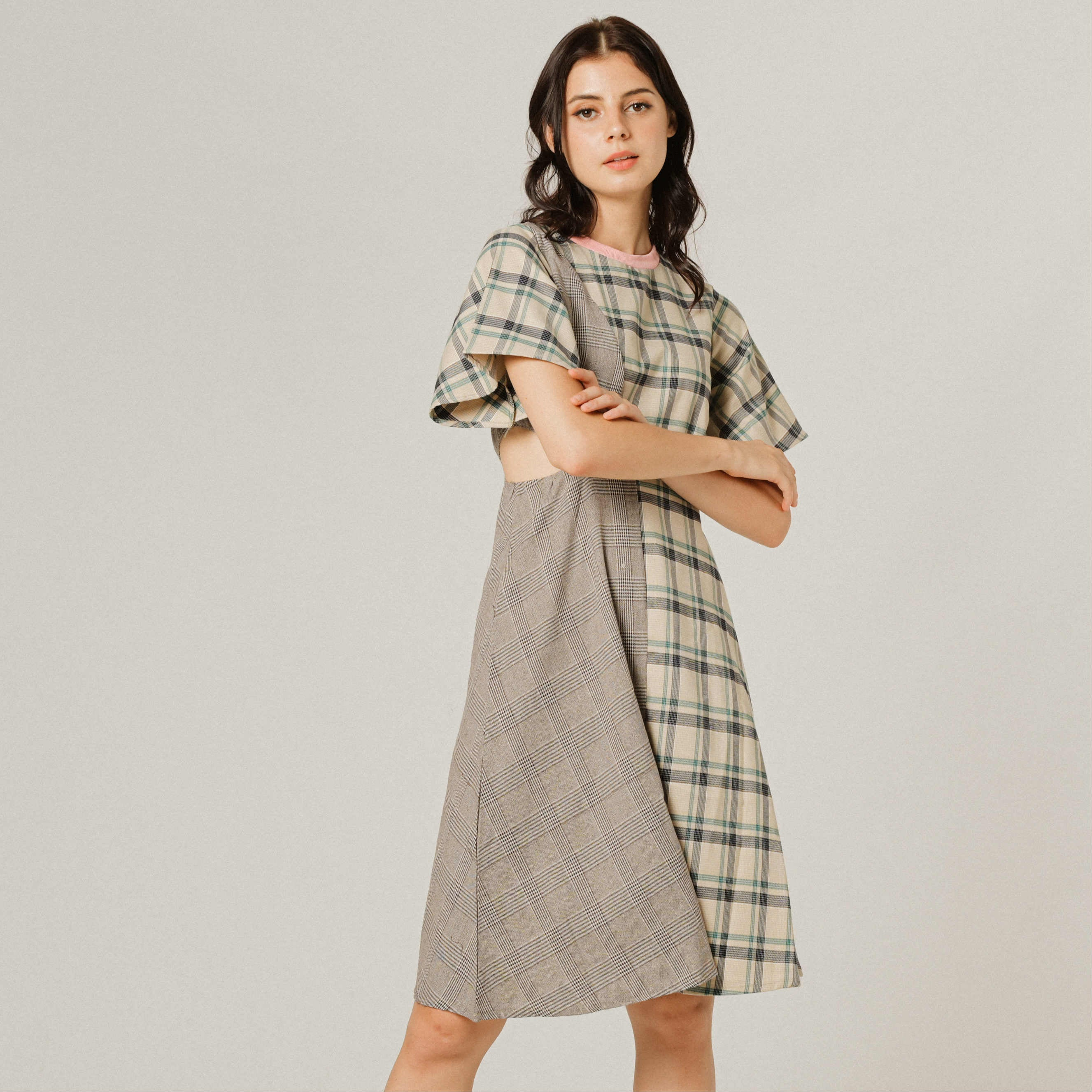 Rainier Checked Asymmetrical Dress