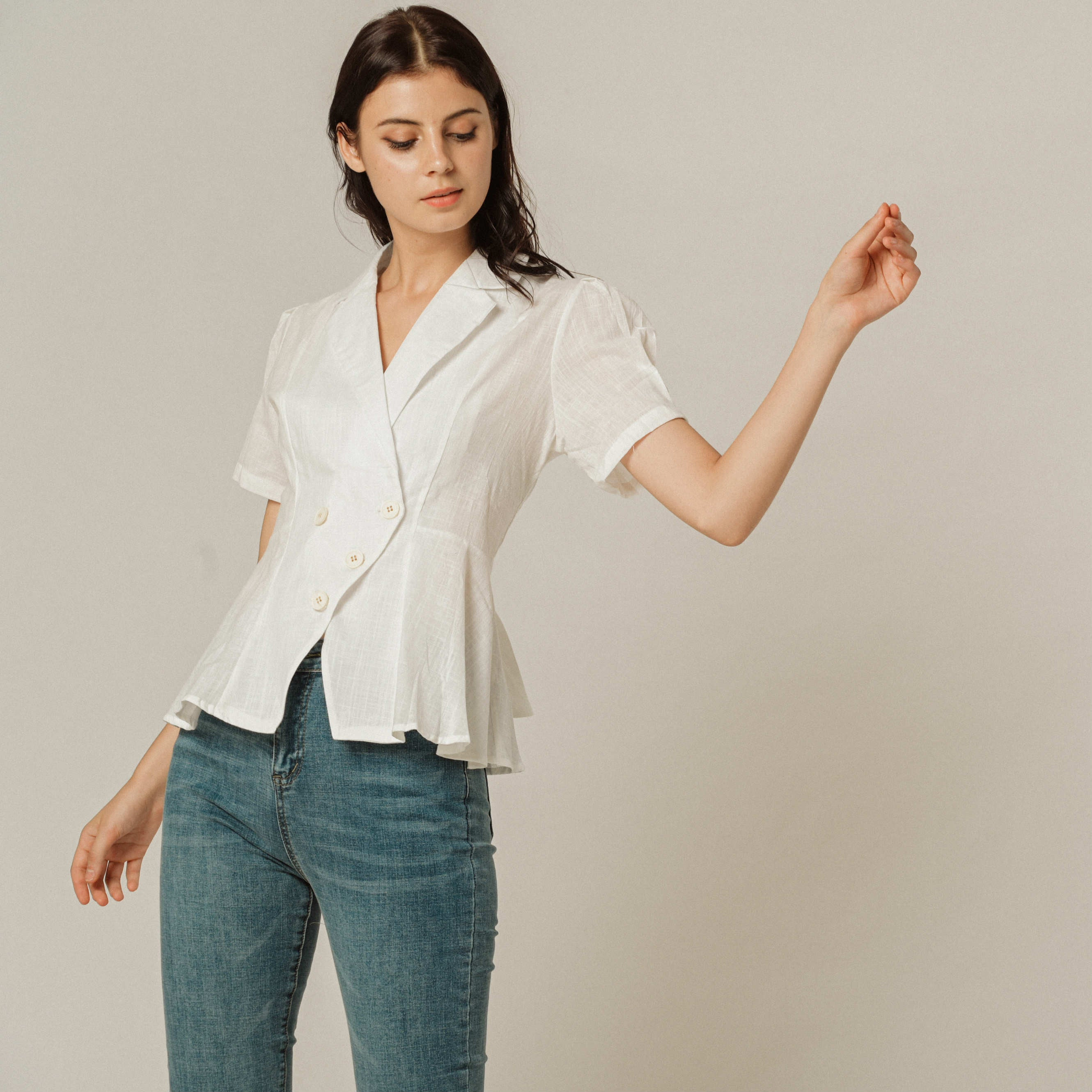 Ineda Buttoned Top - White