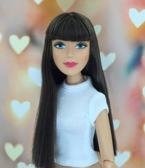 Fair Skin-Blue Eyes-Brown-Long-Straight Hair