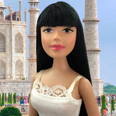 Fair Skin-Brown Eyes-Black-Long-Straight-Bangs