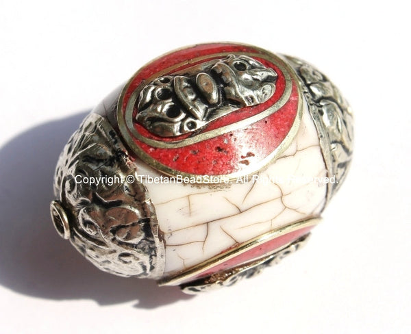 1 BEAD - LARGE Tibetan White Crackle Resin Bead with Auspicious Conch & Coral Inlay - LARGE Tibetan Focal Bead - B2045-1