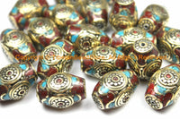 2 BEADS - Tibetan Thick Bicone Beads with Brass, Turquoise & Coral Inlays - Rectangular Box Bicone Barrel Drum Shape Beads - B3134-2
