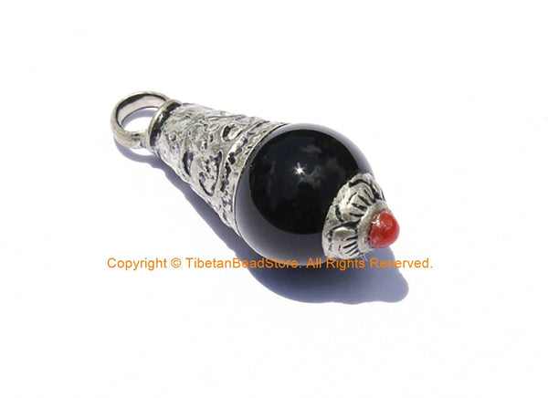 Tibetan Black Onyx Healing Amulet Charm Pendant with Tibetan Silver Caps & Red Copal Coral Accent - WM2050