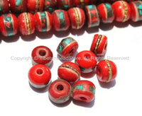 10 BEADS 9mm-10mm Red Bone Inlaid Tibetan Beads with Turquoise & Coral Inlays - LPB13-10