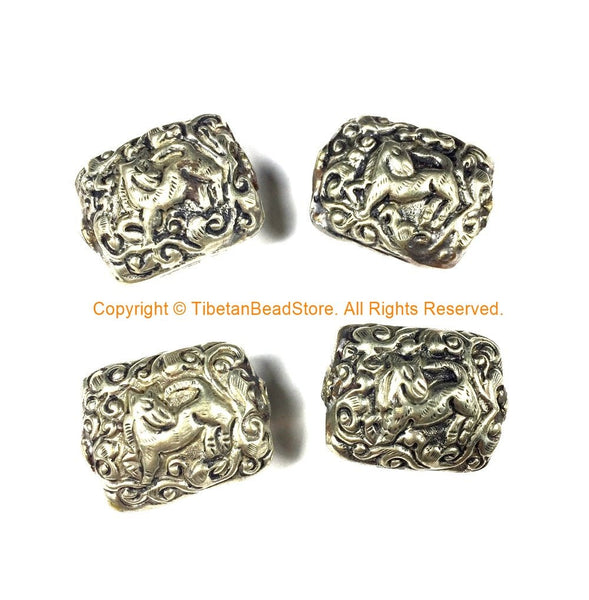 4 BEADS Tibetan Beads - Repousse Carved Animal Details Focal Tibetan Metal Beads - Unique Ethnic Handmade Tibetan Beads - B2418S-4