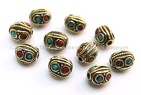 10 beads - Tibetan Oval Beads with Circles, Brass, Turquoise & Copal Coral Inlays - B1600-10
