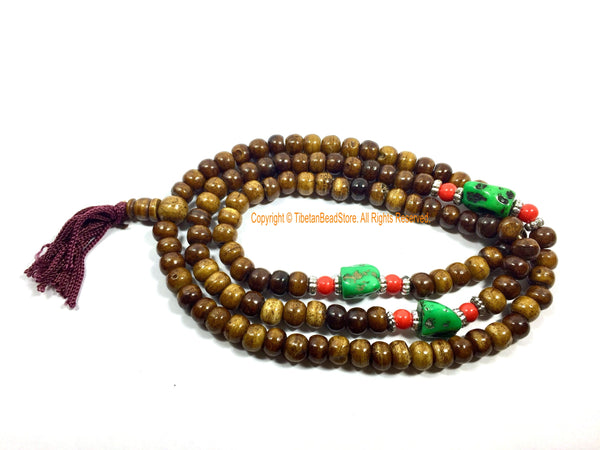 Ethnic Tibetan Antiqued Brown Bone Mala Prayer Beads - Tibetan Prayer Beads Meditation Supplies - Tribal Bone Mala from Nepal - PB209