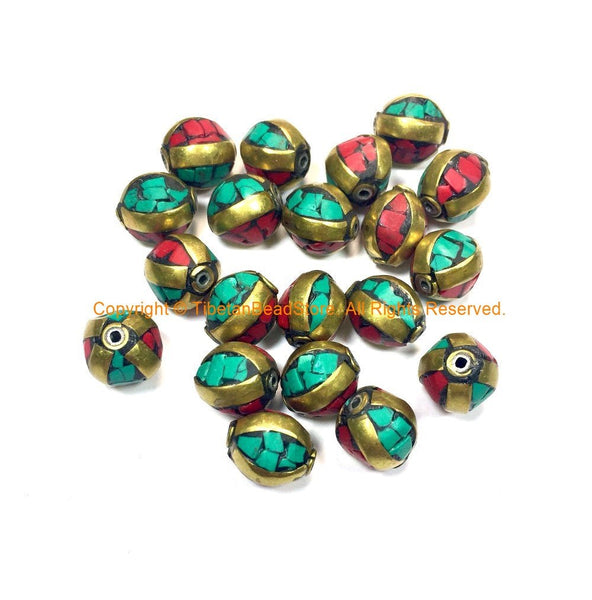 Tibetan Beads - 4 BEADS Turquoise, Coral and Brass Inlaid Beads - Handmade Beads - Inlaid Beads from Nepal - B3235A-4