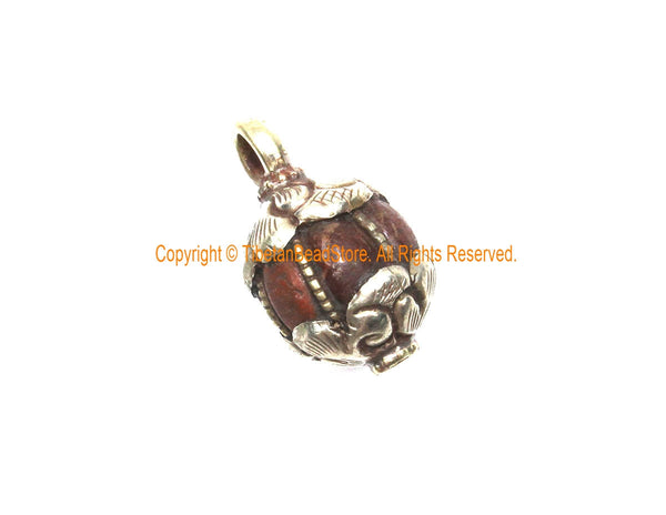 Ethnic Tibetan Old Carnelian Melon-Shaped Drop Charm Pendant with Tibetan Silver Wire Inlay & Repousse Floral Caps - WM7994B