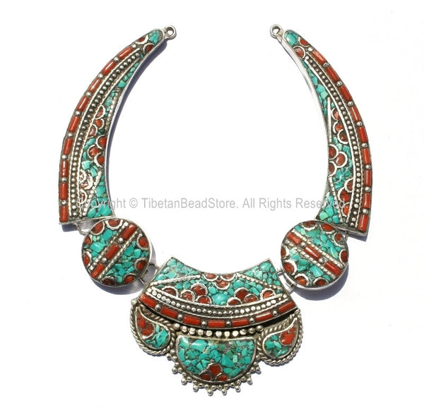 Ethnic Tibetan Necklace Bead Set with Turquoise & Coral Inlays - Fine Quality DIY Necklace - DIY Tibetan Jewelry - N174
