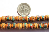 Tibetan Prayer Beads - 8mm 108 Beads Wooden Mala Prayer Beads with Turquoise, Coral, Brass & Copper Inlays - PB15S