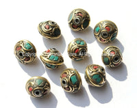 10 BEADS - Ethnic Tibetan Nepalese Floral Disc Brass Beads with Brass, Turquoise & Coral Inlays - B1800-10