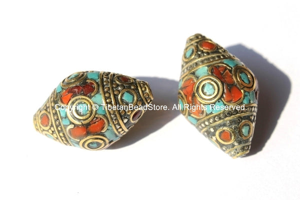 2 BEADS - BIG Tibetan Thick Bicone Beads with Intricate Brass, Turquoise  & Coral Inlays - Ethnic Beads - Tibetan Beads - B1802-2