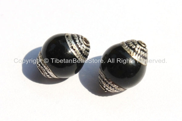 2 BEADS - Tibetan Black Onyx Beads with Tibetan Silver Caps - Ethnic Artisan Handmade Beads - B1808S-2