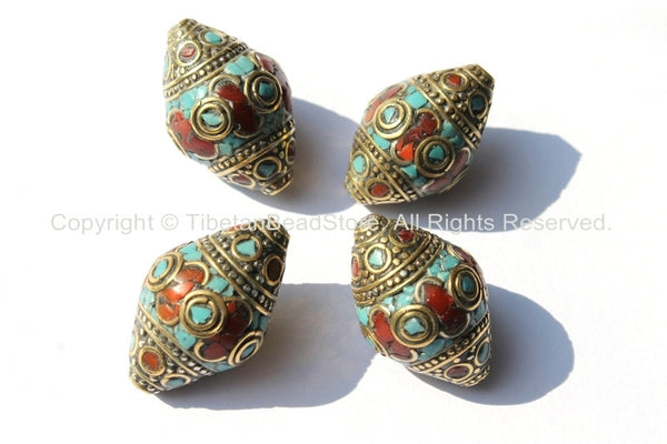 4 BEADS - BIG Tibetan Thick Bicone Beads with Intricate Brass, Turquoise  & Coral Inlays - Ethnic Beads - Unique Artisan Beads - B1802-4