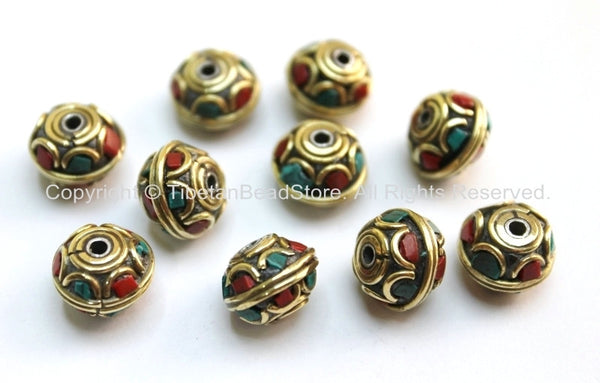 10 beads - Tibetan Floral Beads with Brass, Turquoise & Coral Inlays - Ethnic Beads - Tribal Beads - Tibetan Beads - B1598B-10