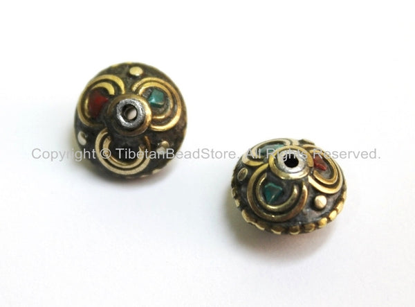 2 BEADS - Tibetan Floral Beads with Brass, Turquoise & Coral Inlays - Ethnic Tribal Tibetan Flower Brass Inlay Beads - B1612-2