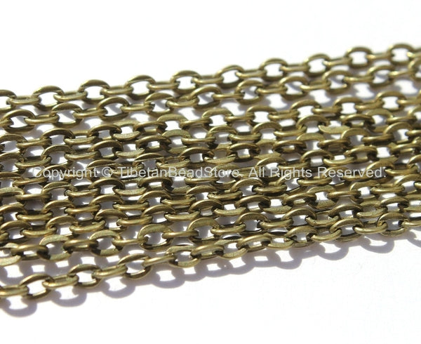 Antique Bronze Link Chain 5 Feet - 2mm wide x 3.5mm long - TibetanBeadStore Chains & Findings - C26-5