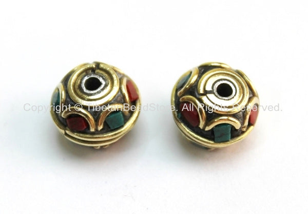 2 beads - Tibetan Floral Beads with Brass, Turquoise & Copal Coral Inlays - B1598-2
