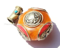 Tibetan Reversible Round Amber Copal Resin Pendant with Turquoise, Coral Inlays, Repousse Auspicious Conch & Vajra Details - WM6093