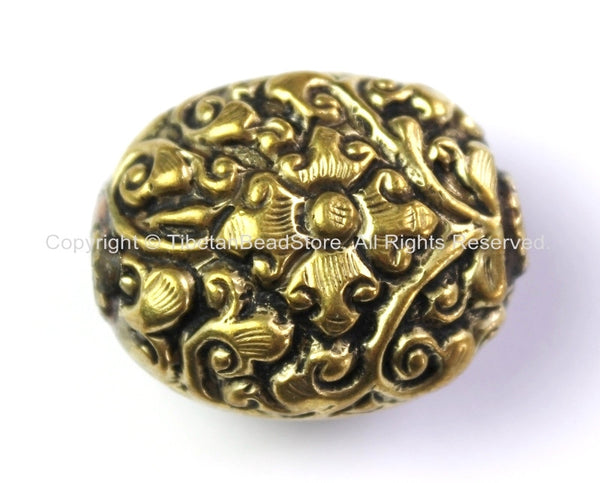 Tibetan Oval Shape Brass Bead with Repousse Carved Floral Details - 1 BEAD - Unique Ethnic Tibetan Bead - B2415