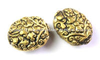 2 BEADS - Tibetan Beads - Tibetan Oval Shape Brass Focal Metal Beads with Repousse Carved Floral Details - Unique Tibetan Beads - B2415-2