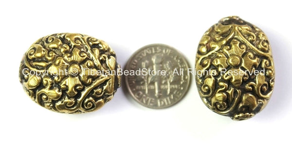 Tibetan Bead - Tibetan Oval Shape Brass Focal Metal Bead with Repousse Carved Floral Details - 1 Bead - Unique Ethnic Tibetan Bead - B2415-1
