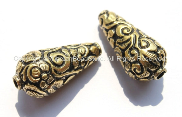 2 beads - Big Tibetan Repousse Brass Cone Beads with Floral Details - Ethnic Tibetan Brass Big Large Long Floral Cone Beads - B2195-2 - TibetanBeadStore
