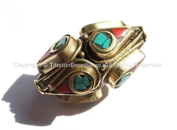 2 BEADS - BIG Ethnic Tibetan Thick Bicone Brass Beads with Turquoise & Copal Coral Inlays - Unique Tibetan Brass Beads - B1415B-2 - TibetanBeadStore