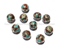 10 Beads - Nepalese Round Cube Beads with Brass, Turquoise & Copal Coral Inlays - B917