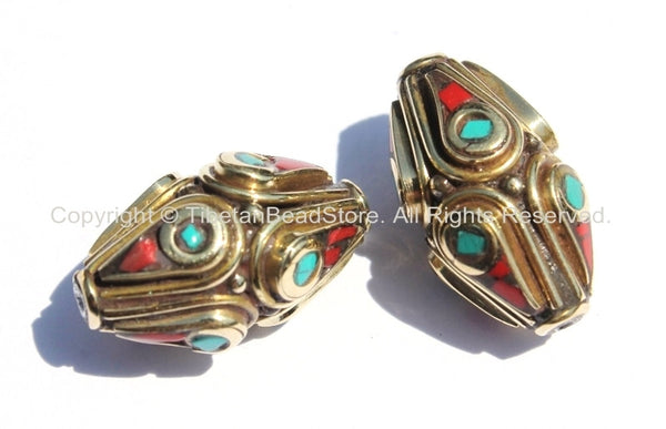 2 beads - Ethnic Tibetan Brass Beads with Turquoise & Coral Inlays - Nepal Tibetan Thick Brass Bicone Inlaid Handmade Beads - B2001-2