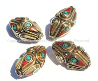 4 beads - Ethnic Tibetan Brass Beads with Turquoise & Coral Inlays - Nepal Tibetan Thick Brass Bicone Inlaid Handmade Beads - B2001-4