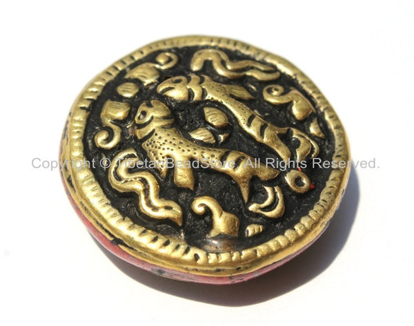 1 Bead - Tibetan Repousse Brass Auspicious Double Fish Round Disc Shape Bead with Coral Side Inlays - Ethnic Handmade Beads -  B2230-1
