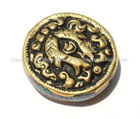 1 Bead - Tibetan Repousse Brass Auspicious Double Fish Round Disc Shape Focal Bead with Mixed Turquoise & Coral Side Inlays -  B2235-1