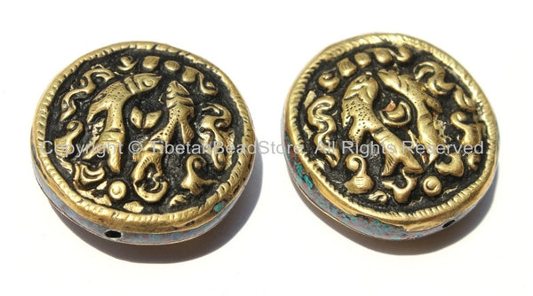 2 Beads - Tibetan Repousse Brass Auspicious Double Fish Round Disc Shape Focal Beads with Mixed Turquoise & Coral Side Inlays -  B2235-2