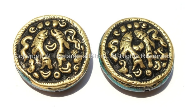 2 Beads - Large Tibetan Repousse Brass Auspicious Double Fish Round Disc Shape Beads with Turquoise Side Inlays -  B2240-2
