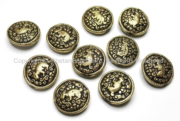 10 BEADS - Tibetan Brass Round Reversible Bead with Repousse Animal Details - Ethnic Handmade Tibetan Metal Beads - B1650-10