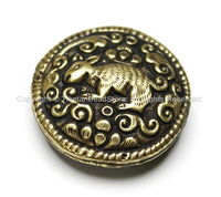 1 BEAD - Tibetan Brass Round Reversible Bead with Repousse Animal Details - Unique Ethnic Handmade Tibetan Metal Beads - B1650-1