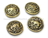 4 BEADS - Tibetan Brass Round Reversible Bead with Repousse Animal Details - Unique Ethnic Handmade Tibetan Metal Beads - B1650-4